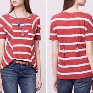 Anthropologie red and white striped blouse